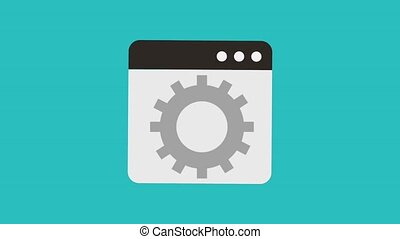 gear and tab window icons animation design