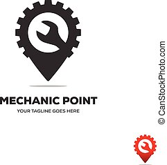 gear and wranch Map Location Navigation Logo Design