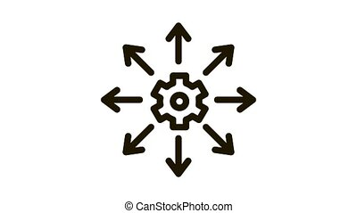 Gear Arrows Icon Animation. black Gear Arrows animated icon on white background