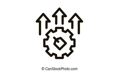 Gear Arrows Label Icon Animation. black Gear Arrows Label animated icon on white background