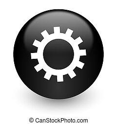 gear black glossy internet icon