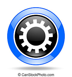 gear blue and black web glossy round icon