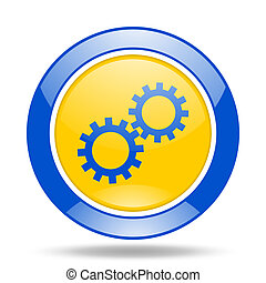 gear blue and yellow web glossy round icon