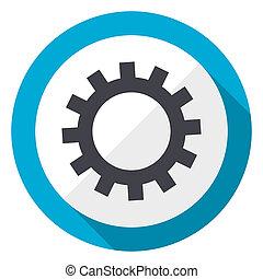Gear blue flat design web icon