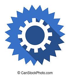gear blue flat icon