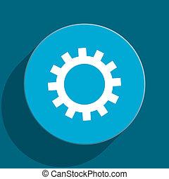 gear blue flat web icon