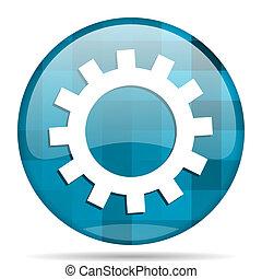 gear blue round modern design internet icon on white background