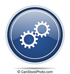 Gear blue round web icon. Circle isolated internet button for webdesign and smartphone applications.
