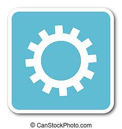gear blue square internet flat design icon