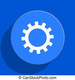 gear blue web flat icon