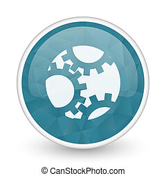 Gear brillant crystal design round blue web icon.