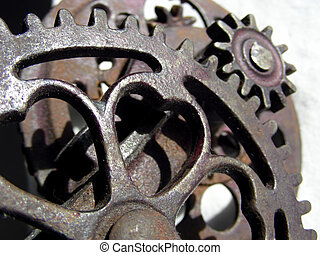 Gear Collage - Intermeshing of gears on antique apple corer