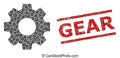 Gear Collage of Gear Icons and Grunge Gear Seal