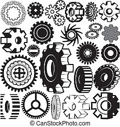 Clip art collection of gear symbols and icons