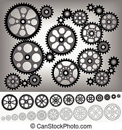 Collection of gears totally compatible each other. All teeth are the same size of gear.