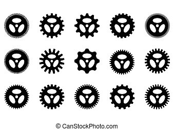 gear collection machine gear. isolate on white.