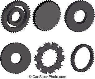 Gear collection. Set of vector gear wheels. Dark cogs on white background