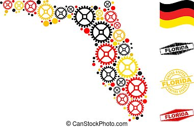 Repair workshop Florida State map composition and seals. Vector collage is designed of repair workshop elements in different sizes, and German flag official colors - red, yellow, black.