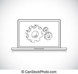 gear., computer-design, ベクトル, engineering., ラップトップ