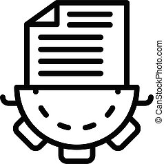 Gear document icon, outline style