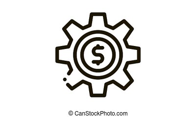 Gear Dollar Coin Icon Animation