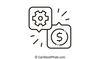 Gear Dollar Quote Icon Animation. black Gear Dollar Quote animated icon on white background