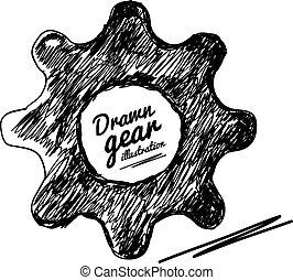 Gear drawn vector illustration