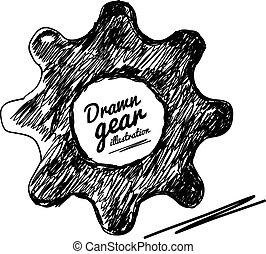 Gear drawn vector illustration
