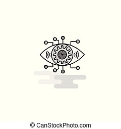 Gear eye Web Icon. Flat Line Filled Gray Icon Vector