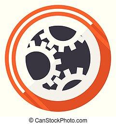 Gear flat design vector web icon. Round orange internet button isolated on white background.