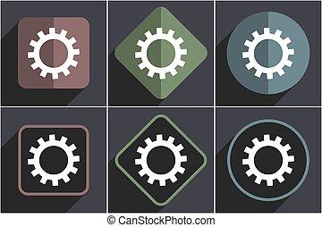 Gear flat design vector web icons