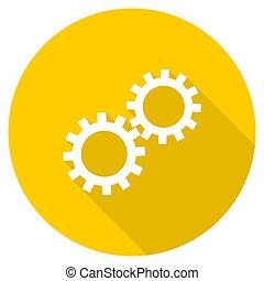 gear flat design yellow web icon