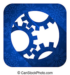 gear flat icon, christmas button, settings sign