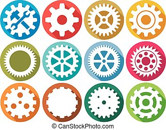 gear flat icons collection