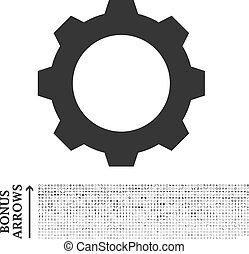 Gear icon with 1200 bonus arrow and navigation pictograms. Vector illustration style is flat iconic symbols, gray color, white background.