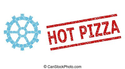 Gear Fractal Composition of Gear Items and Distress Hot Pizza Seal