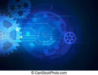 gear futuristic technology blue background