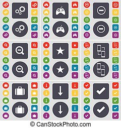 Gear, Gamepad, Minus, Magnifying glass, Star, Connection, Suitcase, Arrow down, Tick icon symbol. A large set of flat, colored buttons for your design. Vector