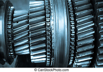 gear gearbox - gear wheels on gearbox shaft.