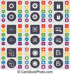 Gear, Gift, Pulse, Stop, Picture, Connection, Processor, Text file icon symbol. A large set of flat, colored buttons for your design. Vector