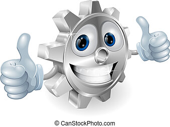 Gear giving thumbs up cartoon