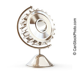 gear globe 3d Illustrations on a white background