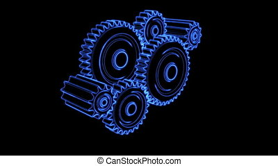 gear glow 04 - gears cogs and pinions