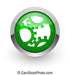 gear green glossy web icon