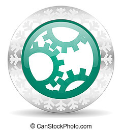 gear green icon, christmas button, settings sign