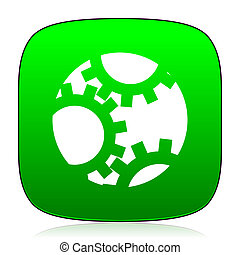 gear green icon for web and mobile app