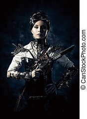 gear gun - Portrait of a beautiful steampunk woman holding a...