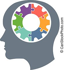Gear head person logo. Vector graphic design illustration