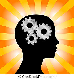 Gear symbol in the head of a thinking silhouette woman on a background of orange red rays.