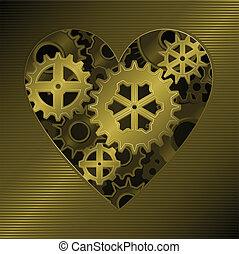 Gear heart - Mechanical clockwork heart formed from gold...